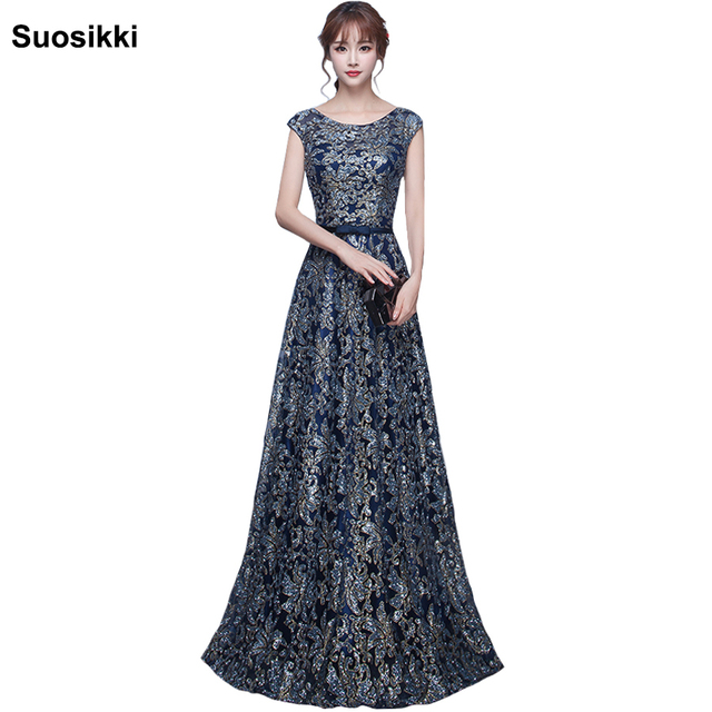 Blau silber glänzende Prom Kleid Flügelärmeln Kleider Abschluss Sexy ...