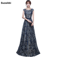 Blue silver shining Prom Dress Cap Sleeve Gowns Graduation Sexy sequined Appliques Evening Dress long Vestido De Festa