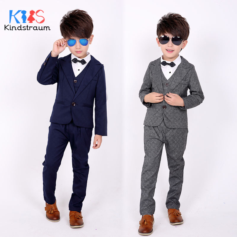 Kindstraum Boys Wedding Formal Suits 3pcs Solid Blazer+Vest+Pant Kids Gentleman Clothing Sets Children Fashion Party Wear, MC916 2016 leisure baby boys clothes set gentleman handsome formal wear wedding vest white t shirt tie pants party suits free shipping