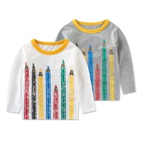 Spring Autumn Kids Baby Long Sleeve Tops T-shirt Pencil Pattern Tee
