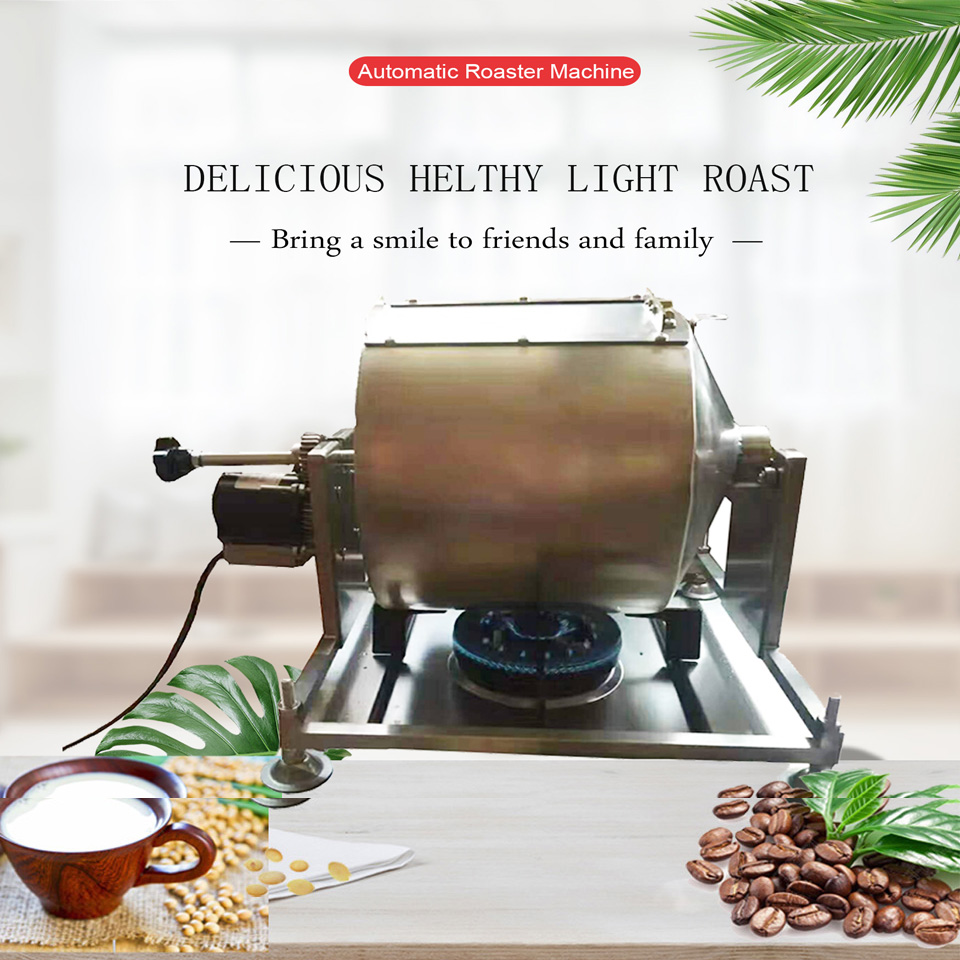 Electric heated automatic rotate stainless steel HD-13 coffee bean baking machine, soya roaster