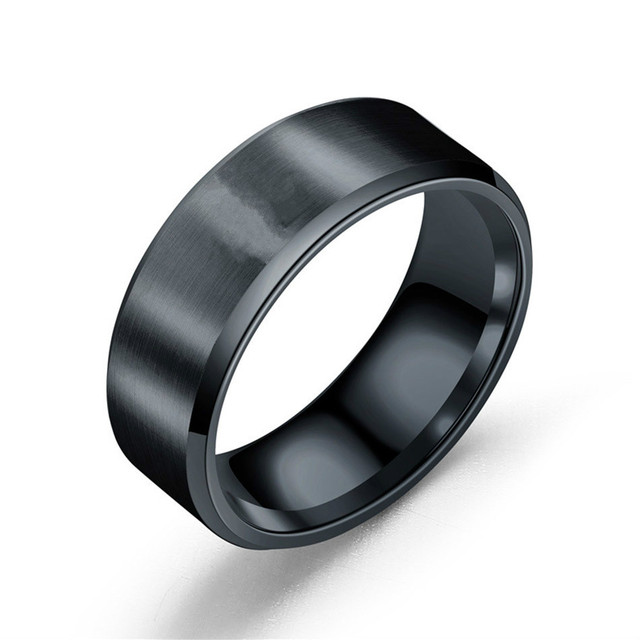 BINQINGZI 8MM Brushed Ring 316L Stainless Steel Rings For Men Black Silver Gold