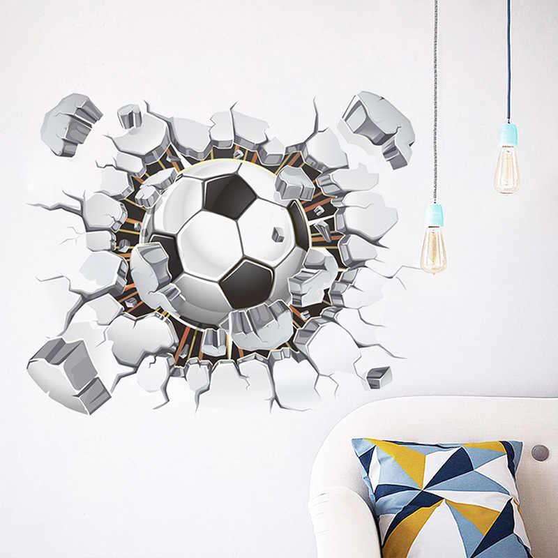 3D визуальный чувство футбол футбольная площадка сломанная стена отверстие окно вид домашняя Настенная Наклейка для мальчиков комната Спорт Декор Фреска
