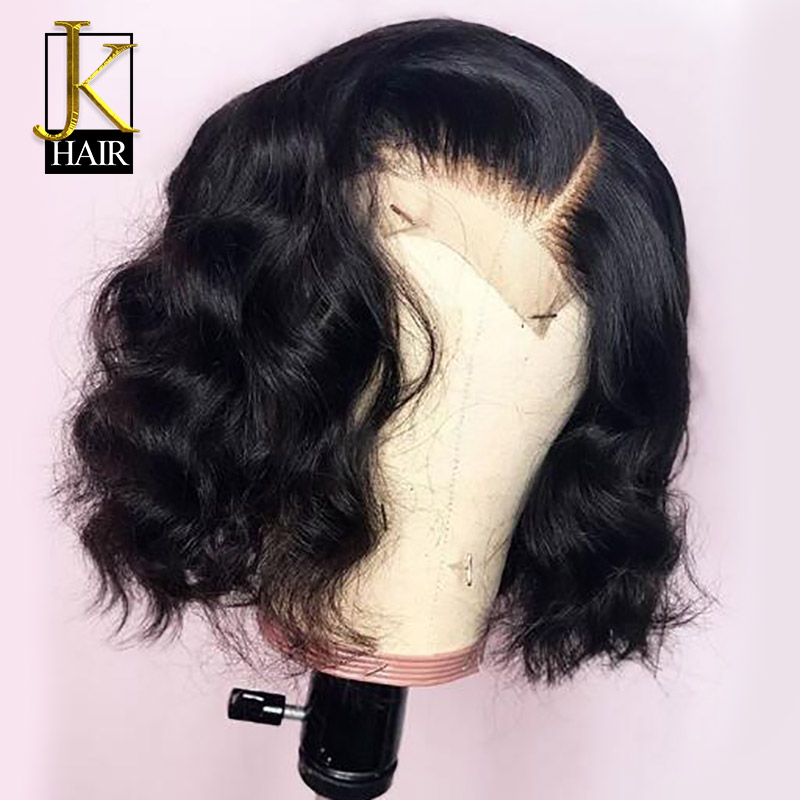 Short Bob Wigs For Women 4*4 Lace Closure Wig Black Roots Remy Brazilian Human Hair Wigs Natural Wavy 150% Density JK Elegant