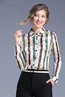 ONEDD 2019 blouse women European and American style printed top fashion versatile lapel long sleeve shirt fashion girl