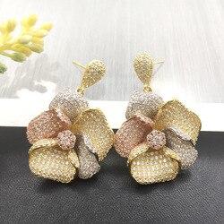 Lanyika de joyería de moda de lujo artística plantas Oval Cubic Zircon pendientes Micro Pave compromiso Popular pendiente mejor regalo