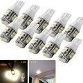 10X Blanco Cálido 10-SMD T10 W5W Side Car Cuña de la Luz LED del Bulbo de La Lámpara 194 168 2825