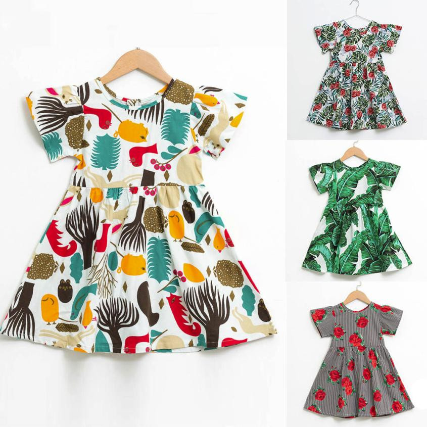 Summer Baby Kids Dresses Children Girls clothes Infant Toddle Floral Cartoon Sleeveless Clothes Princess Dress for Girls Clothes