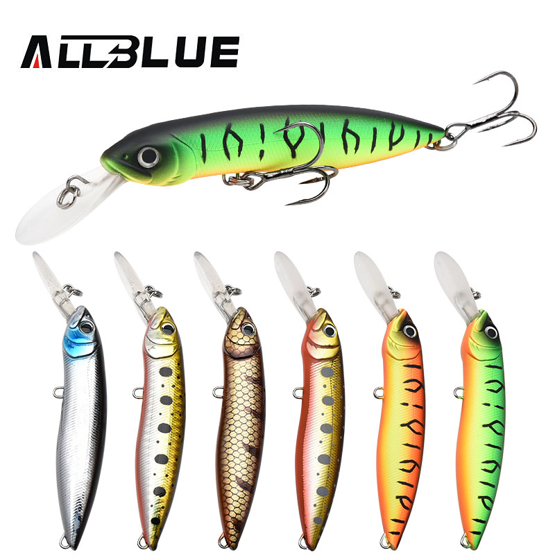 ALLBLUE New Professional Wobbler Fishing Lure Floating Minnow Crank Bait 10cm 18.5g Swimbait Crankbait Pike Armed Black Hook allblue outlander 80ss joint fishing lure 80mm 15g slowly sinking swimbait vib wobbler minnow artificial bait bass pike tackle
