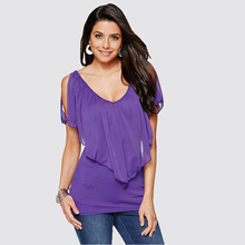 ZYFPGS Women Chiffon Blouse Shirts Sexy Womens fashion design summer loose Top Printed Solid color double layer