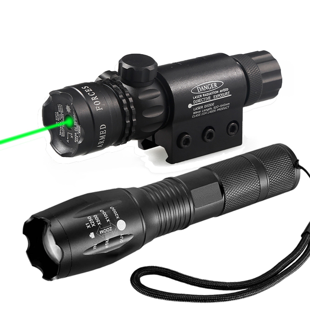 все цены на Tactical T6 LED Flashlight Zoomable Torch + Adjustable Green Dot Laser Sight Rifle Hunting Scope 2 Mount for Outdoor Hunting онлайн