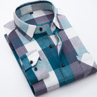 Men Long Sleeve England Shirts Camisa,Plaid Printed Flannel Pure Cotton Comfortable Grind Shirts Slim Fit Tops Size S 4XL