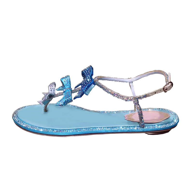 Cielo Playa Arco Azul Verano Feminina Pisos Sandalia Cuero Genuino rosado Rhinestone Plana Estilo Roma Sandalias Mujer Zapatos Hebilla qHRnaxFw