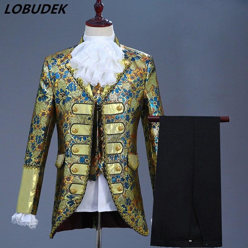 Erkek Kıyafeti'ten T. Elbise'de Avrupa Tarzı Erkekler Mahkemesi Elbise 5 Adet Set Damat Düğün Giyim Erkek Dram Performans Sahne Kostüm Şarkıcı Koro Elbiseler'da  Grup 1