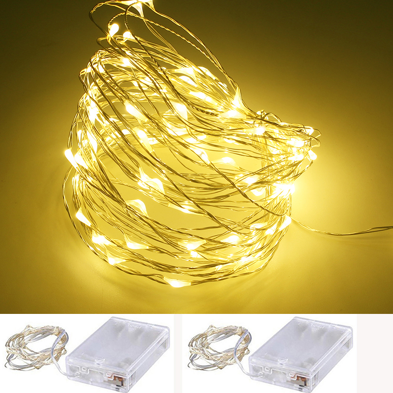 2M 3M 4M 5M AA Batteridrevne LED Kobber Wire farverige String Fairy lyser Christmas Holiday Decoration Festival lys