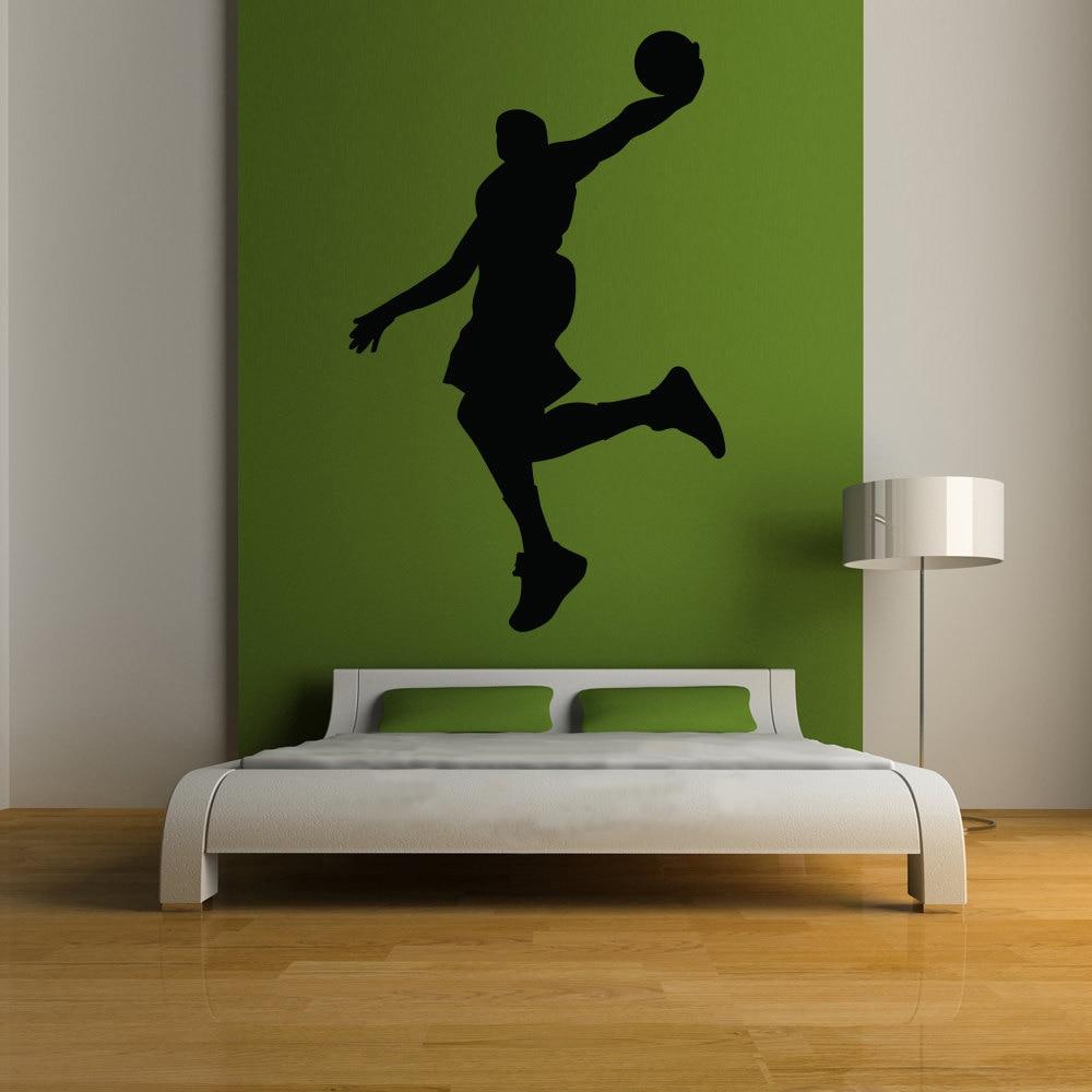 US $9.79 30% di SCONTO|Nero Adesivo Basket Dunk Silhouette Per Camera Da  Letto Del Vinile Stencil Murale Home Decor-in Adesivi murali da Casa e ...