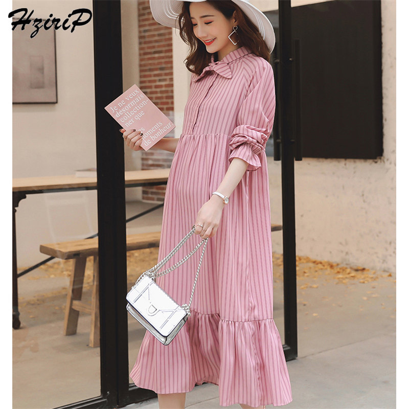 953e3af4919ec Detail Feedback Questions about HziriP 2019 New Style Nursing Casual  Ruffles Fresh Striped Dress Pink Pregnant Women Dress Loose Maternity Dress  Plus Size M ...