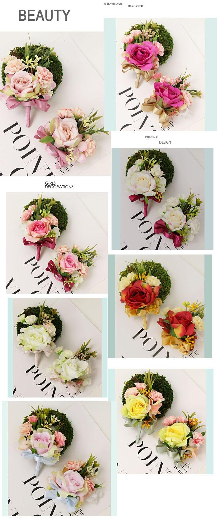 bridesmaid bracelet wedding corsage flowers roses artificial  (3)
