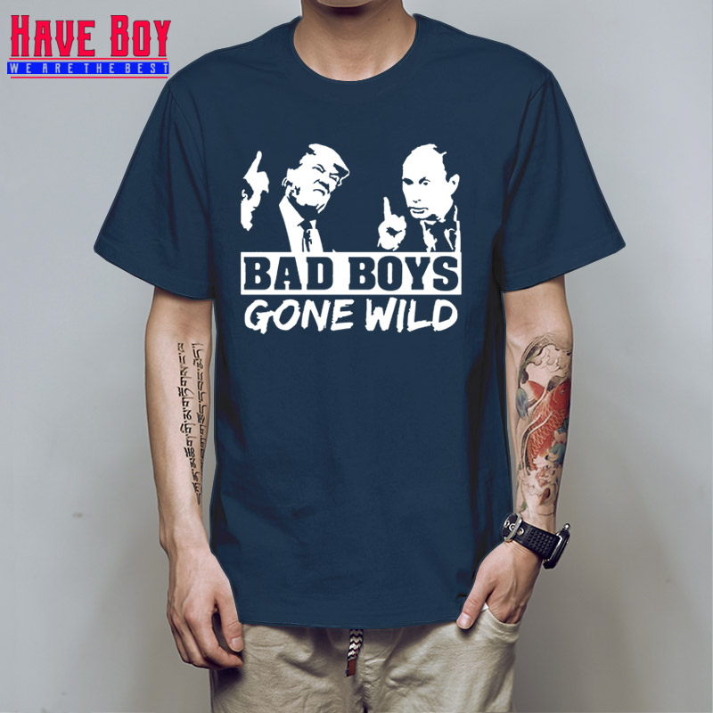 Have boy Character Fitness Trump And Putin Men's   T  -  Shirt   Bad Boys Gone Wild 2   T     Shirt   For Men Kawaii Great Tshirt Hiphop HB538