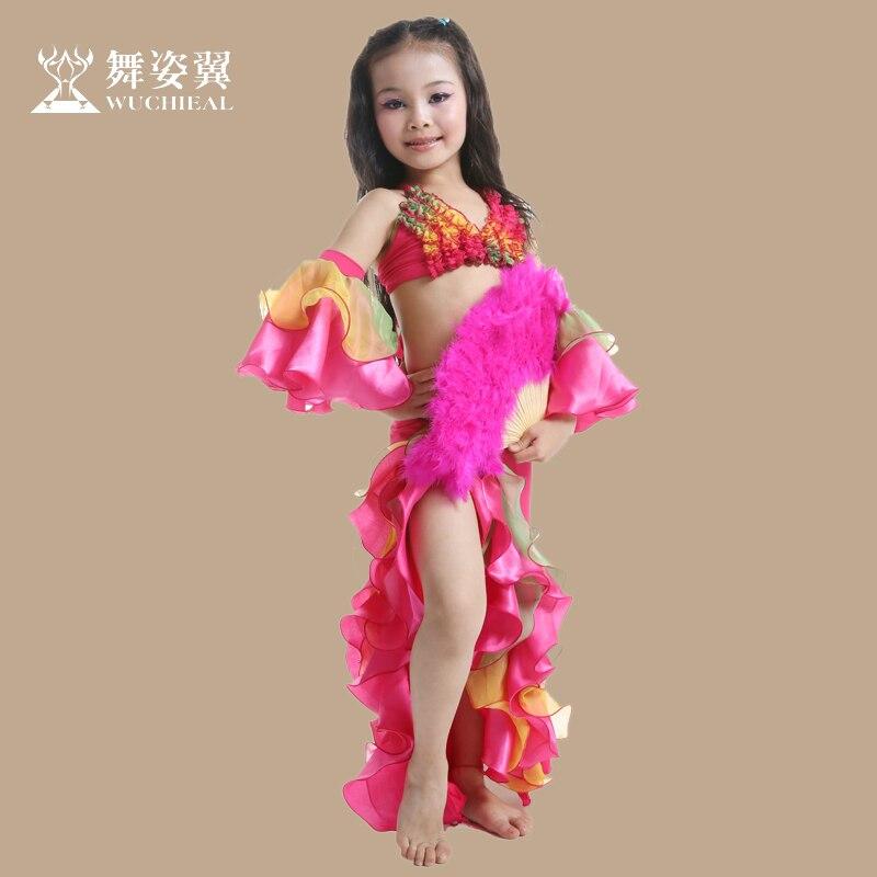 Costume de danse du ventre Wuchieal coton marque 2018 nouveau enfant filles danse du ventre Costumes Top soutien-gorge + jupe Costumes pour Oriental Rt001