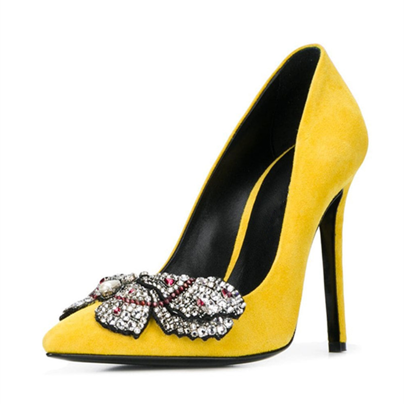 Autumn New Crystal High Heels Shoes Woman Yellow Black