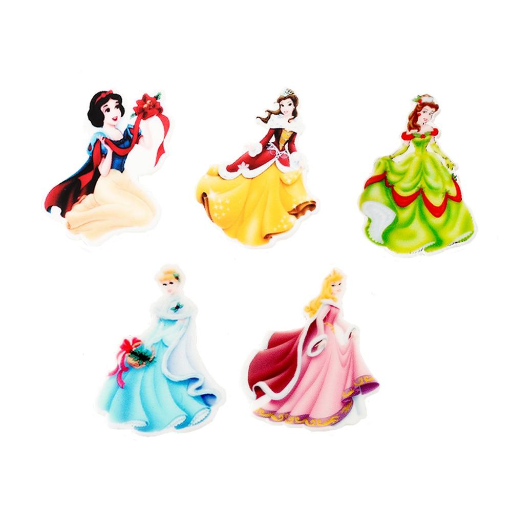 Decoden 30Pcs Mixed Cartoon Little Princess Resin Planar Cabochons Kawaii DIY Kids Birthday Party Craft