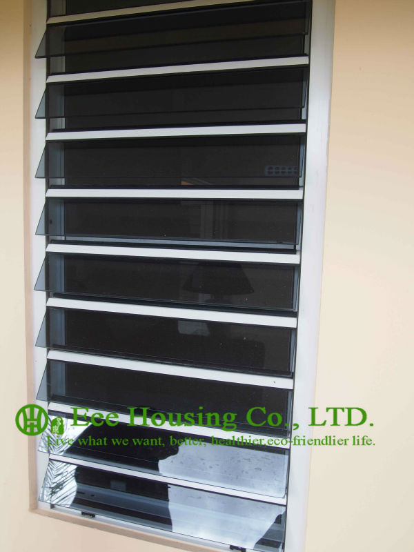 White Color Aluminum Glass Louvered Windows With Tinted