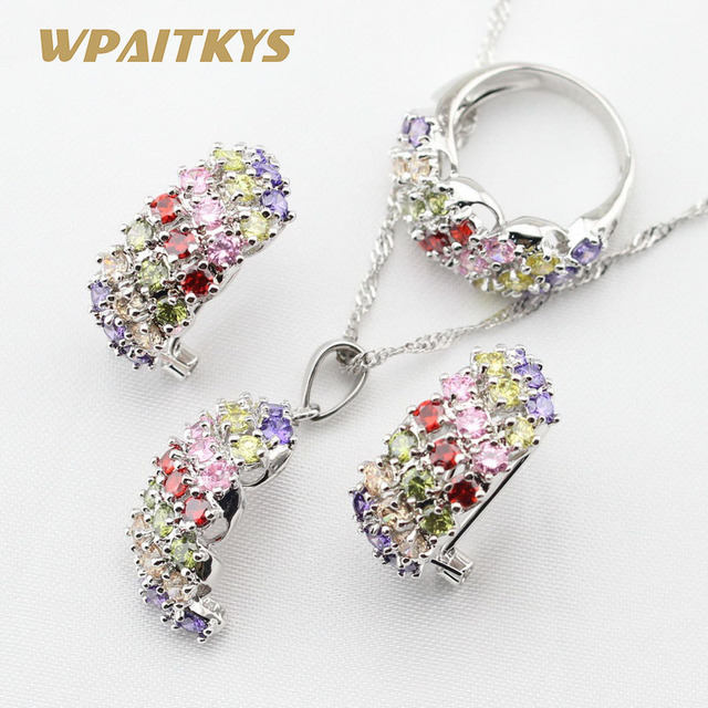 538f86ad4083 Multicolor Stones Silver Color Jewelry Sets Necklace Pendant Hoop Earrings  Rings For Women Free Gift Box