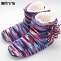 Hot 2016 Winter Warm Slippers Adult Men And Women Winter Household Slipper Soft Non-Slip Thicken Plush Home Indoor Floor Shoes