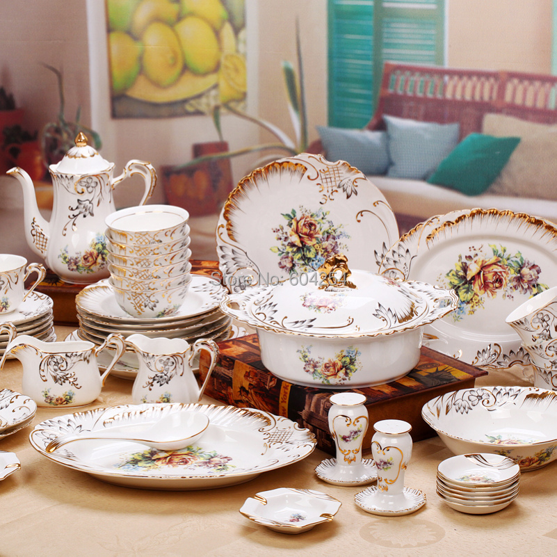 free shipping 70 piece european luxurious handmade gold tableware suit gilt embossed bone china. Black Bedroom Furniture Sets. Home Design Ideas