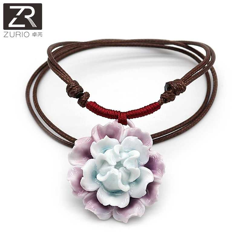 Zurio Jewelry 11 Colors Flower Ceramic Necklace Rose Peony Lotus Handmade Accessories Traveling Memento Souvenir Wholesale