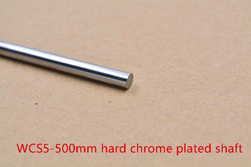 3D Printer Rod Shaft WCS 5mm Linear  Length 500mm Chrome Plated  Guide Rail Round   1pcs
