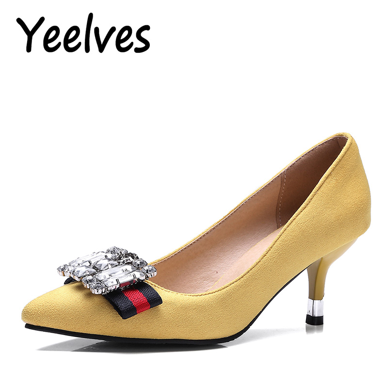 Yeelves New Women FashionThin High Heels Crystal Pumps Yellow Red Black Heeled Court Shoes Pumps for Ladies Girl Party Plus Size yeelves new women fashion thin high heels pumps yellow or black heels court shoes pumps for ladies girl party plus size bowtie