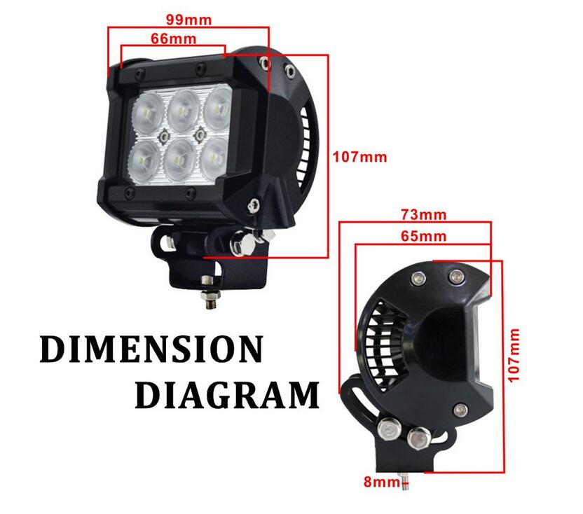 4 inch 18W LED Work Light Lamp for Motorcycle Tractor Boat Off Road 4WD 4x4 For Truck SUV ATV Spot Flood 12v 24v