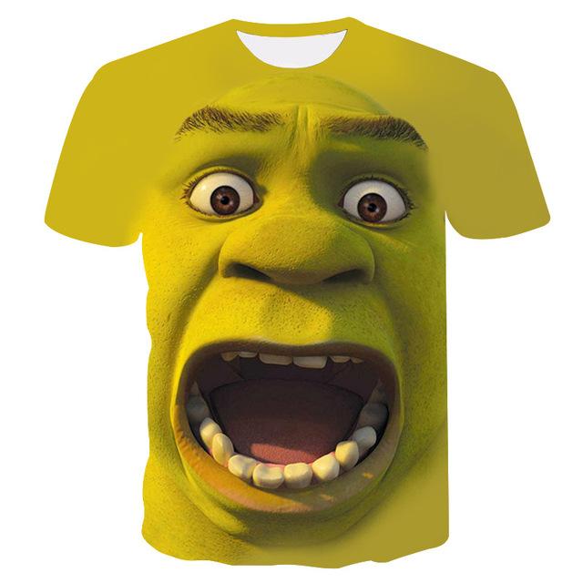 Shrek Shirt 3D Funny Casual T-Shirt Men's Hip Hop Round Neck Short Sleeve Tops Summer street fashion cool t-shirt Men's Wear