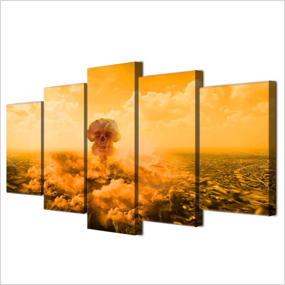 5 Pcs Framed HD Printed Explo Death Of Mushroom Cloud Canvas ...