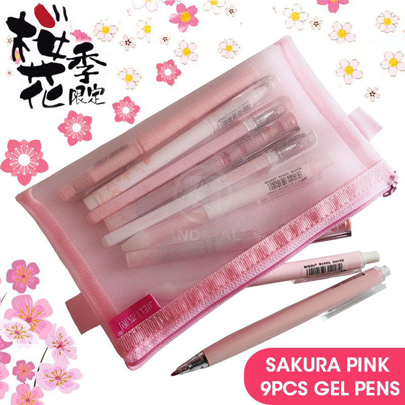 M&G 9pcs/lot Cute Kawaii Sakura Gel Pen Set 0.5/0.38mm Stationery Extra Fine Roller Retractable Ink Pens For School Supplies