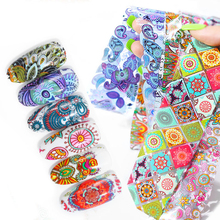 цена на 10pcs Nail Foils Set Paisley Flower Colorful Nail Foils Starry Paper Transfer Sticker Wraps Manicure Nail Art Decals 4*20cm