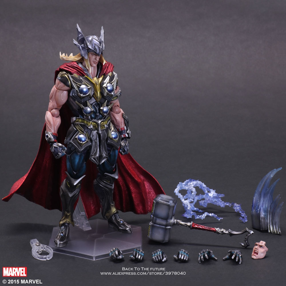 Disney Marvel Avengers Thor 26cm Action Figure Anime Mini Decoration PVC Collection Figurine Toy model for child gift kids цена