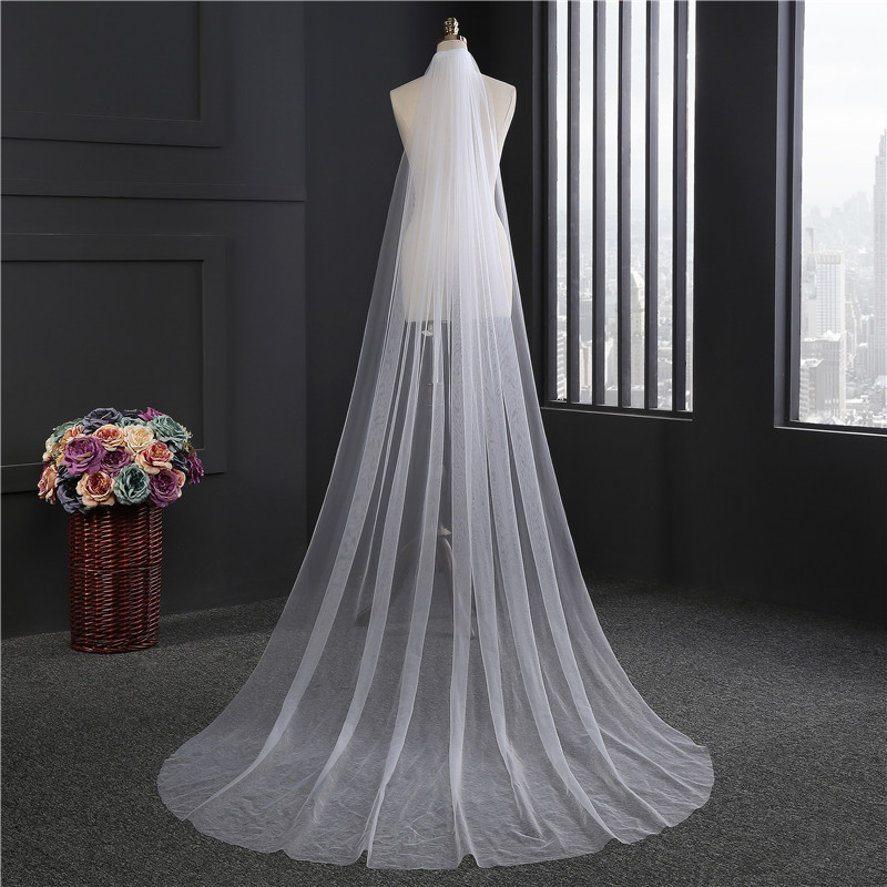 Cheap Waltz Veil Cut Edge White Long Bridal Veils One Layer Wedding Veils With Comb Vintage Bridal Wedding Party Veils(China)
