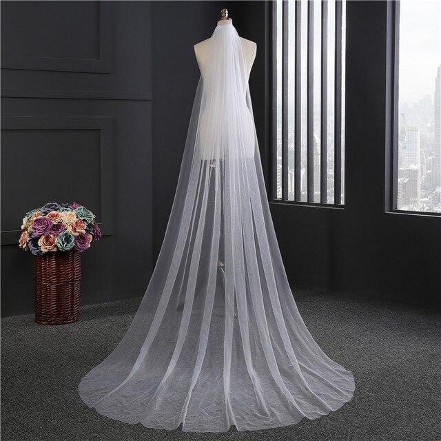 Cheap Waltz Veil Cut Edge White Long Bridal Veils One Layer Wedding Veils with Comb Vintage Bridal Wedding Party Veils