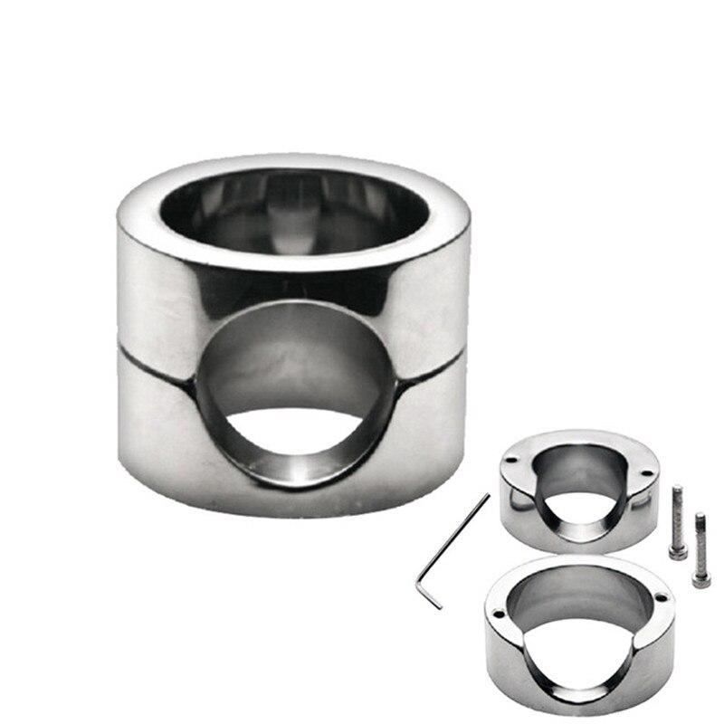 Anneau Scrotum lourd en acier inoxydable anneau de massage pendentif balle brancards anneau de bite dispositif de chasteté mâle cage à pénis jouets sexuels pour adultes