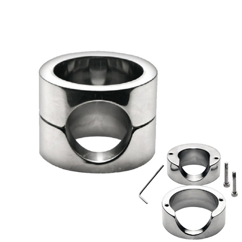 Stainless Steel Heavy Scrotum Ring Pendant <font><b>ball</b></font> <font><b>Stretchers</b></font> Cock Ring Male Chastity device Penis cage <font><b>adult</b></font> <font><b>Sex</b></font> <font><b>toys</b></font> <font><b>for</b></font> man image