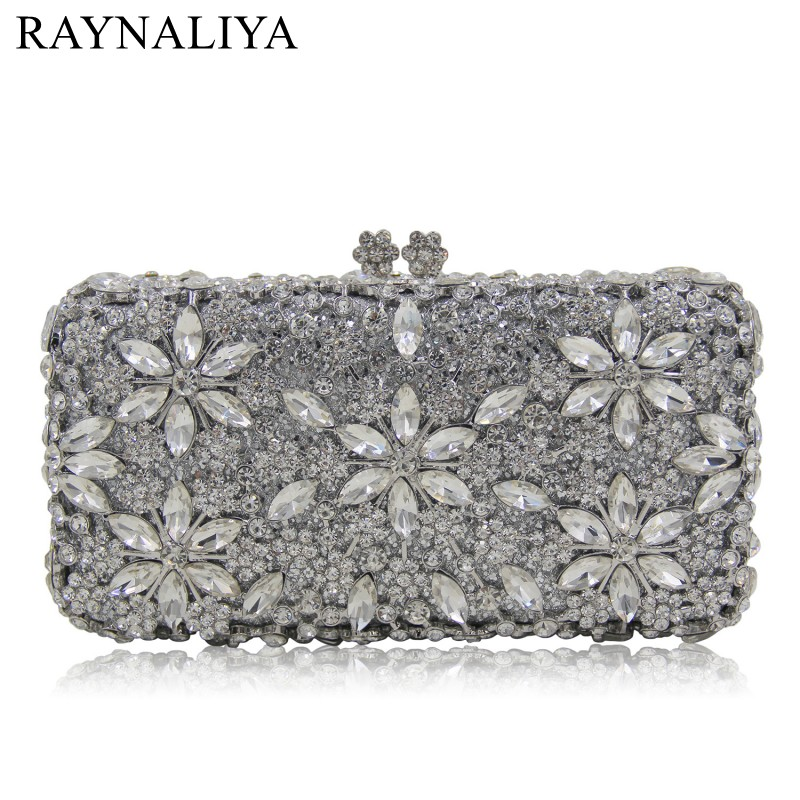 Crystal Flower Hollow Out Women Evening Bag Metal Box Clutch Wedding Party Prom Bridal Silver Handbags And Purse SMYZH-E0357