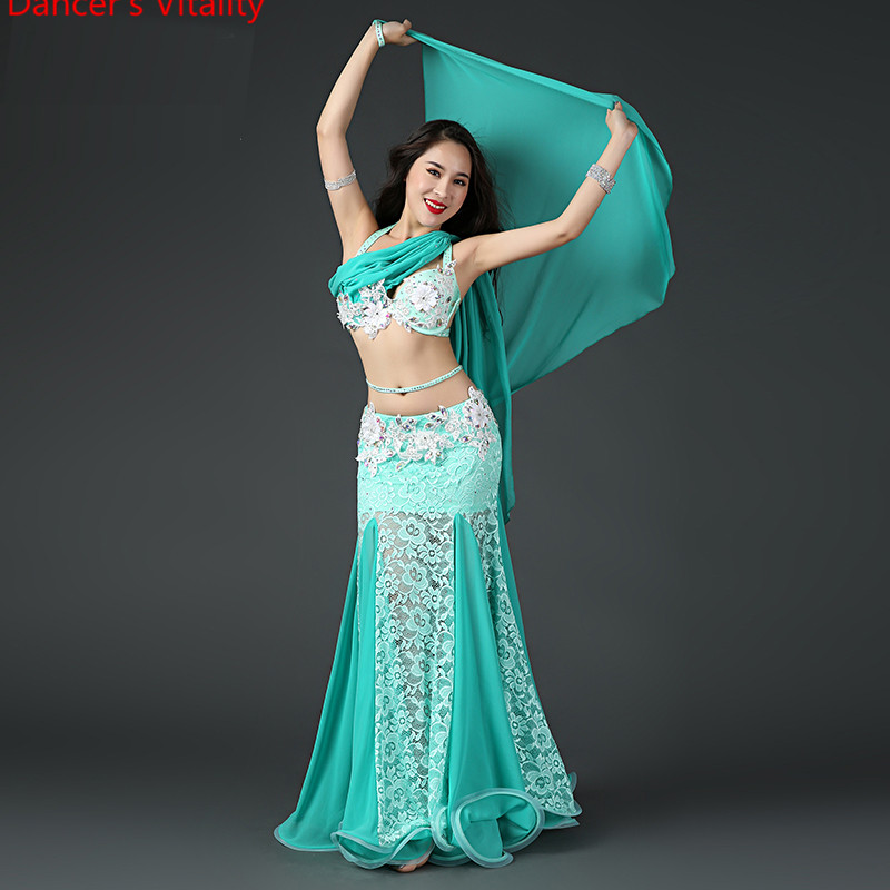 Women Lady Belly Dance Rhinestone Bra Ribbon And Cut Out Splicing Fishbone Skirt Competition Performance Indian Oriental  Costum