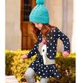 Crianças Meninas Longas Da Luva Vestido com Padrão de Cervos Dos Desenhos Animados Algodão Primavera Outono Crianças Pano Girls'Knee Comprimento Vestidos de Natal 21