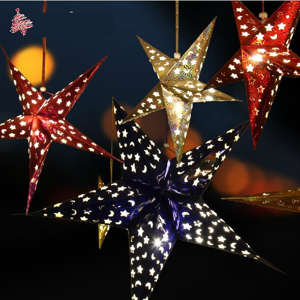 New Cardboard Stars Christmas Decorations For Home Indoor Gold Silver Red Blue 30 110cm Hollow Birthday Party