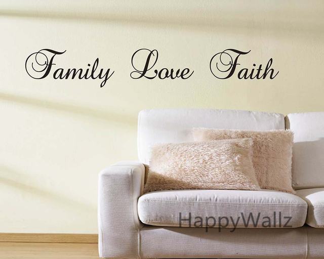 Family Love Faith Quote Wall Sticker Family Love Faith Wall Decal - Wall decals about family