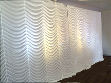 3x6m White flow water wedding backdrop stage curtain wedding drapes