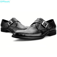 цены Brand 100% Genuine Leather Monk Strap Shoes Men Oxfords Handmade Designers Formal Crocodile Pattern Men Dress Shoes
